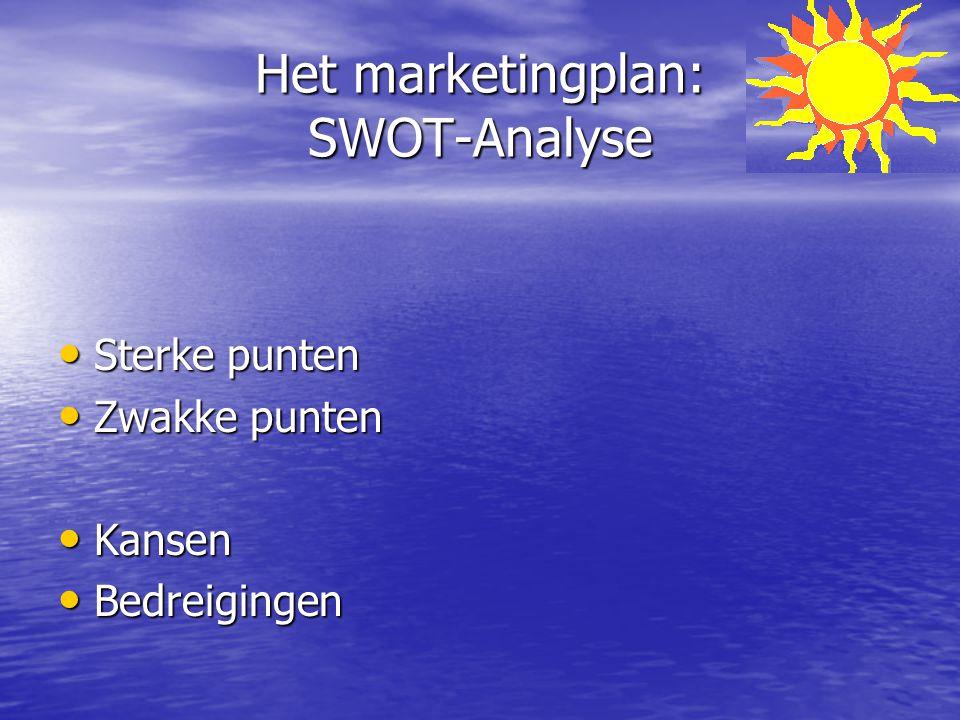 Het marketingplan: SWOT-Analyse Sterke punten Sterke punten Zwakke punten Zwakke punten Kansen Kansen Bedreigingen Bedreigingen