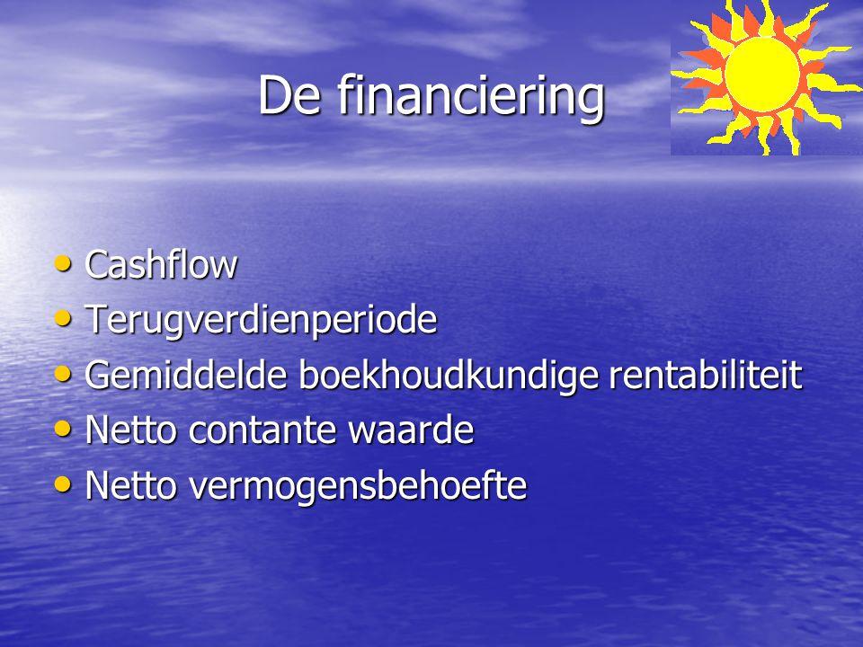De financiering Cashflow Cashflow Terugverdienperiode Terugverdienperiode Gemiddelde boekhoudkundige rentabiliteit Gemiddelde boekhoudkundige rentabil