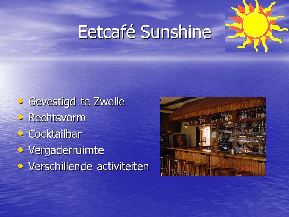 Eetcafé Sunshine Gevestigd te Zwolle Gevestigd te Zwolle Rechtsvorm Rechtsvorm Cocktailbar Cocktailbar Vergaderruimte Vergaderruimte Verschillende act