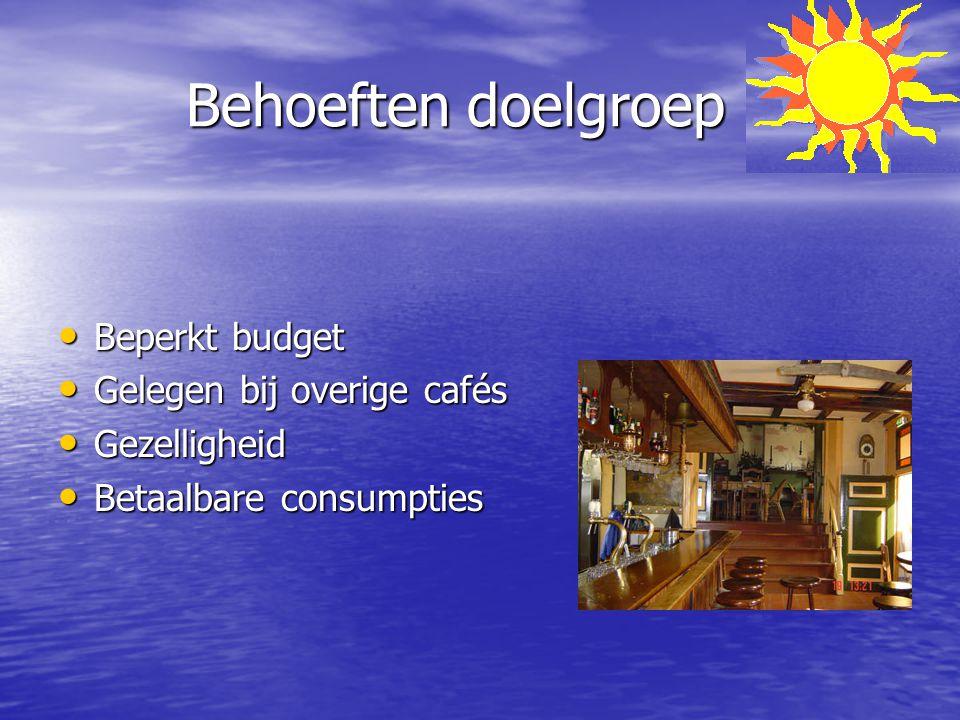 Behoeften doelgroep Behoeften doelgroep Beperkt budget Beperkt budget Gelegen bij overige cafés Gelegen bij overige cafés Gezelligheid Gezelligheid Be