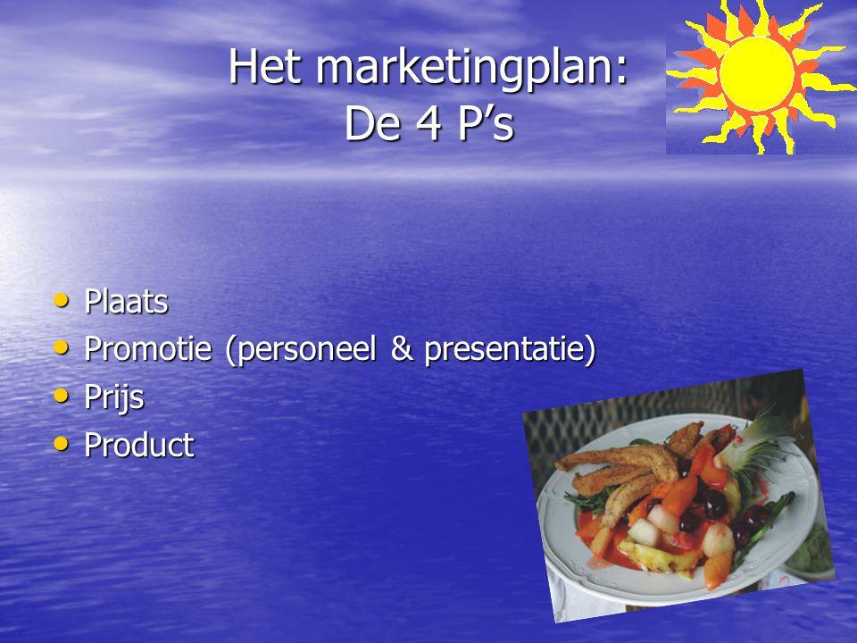Het marketingplan: De 4 P's Plaats Plaats Promotie (personeel & presentatie) Promotie (personeel & presentatie) Prijs Prijs Product Product