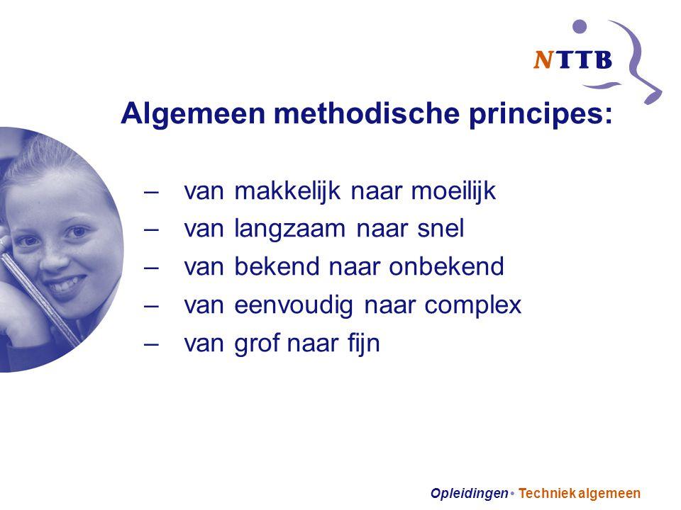 Opleidingen Techniek algemeen Algemeen methodische principes: –van makkelijk naar moeilijk –van langzaam naar snel –van bekend naar onbekend –van eenvoudig naar complex –van grof naar fijn