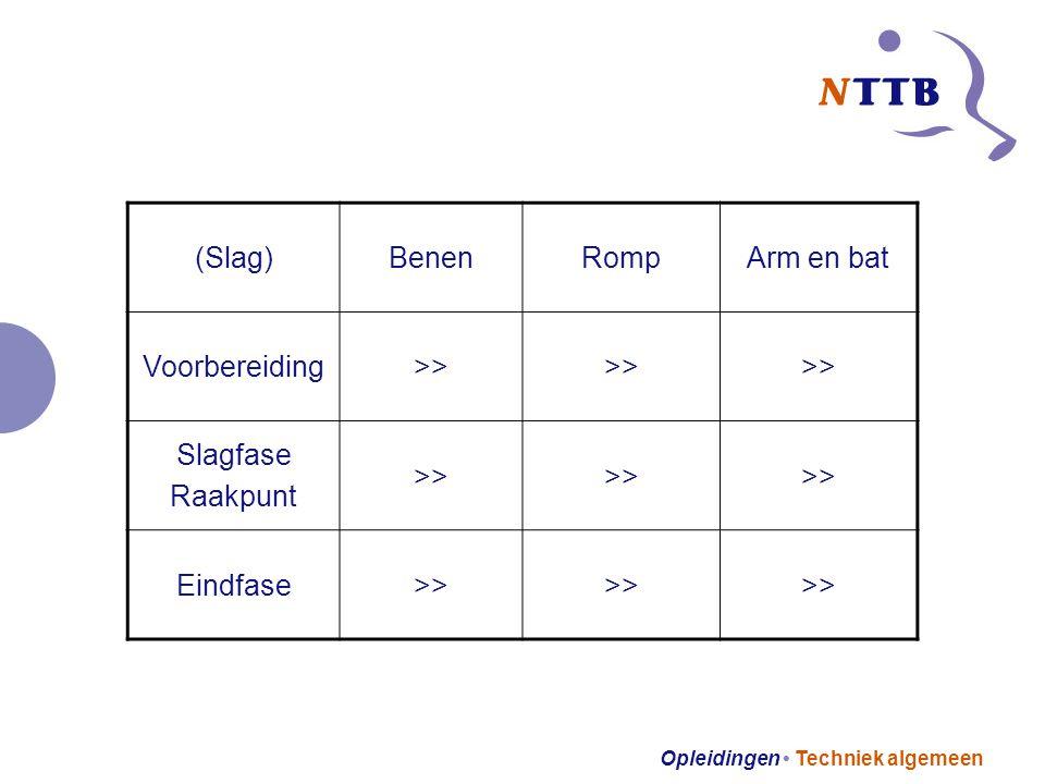 Opleidingen Techniek algemeen (Slag)BenenRompArm en bat Voorbereiding>> Slagfase Raakpunt >> Eindfase>>