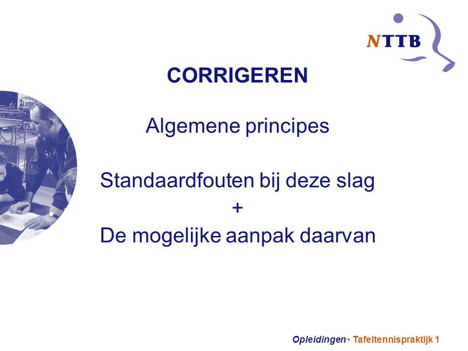 Opleidingen Tafeltennispraktijk 1 CORRIGEREN Algemene principes Standaardfouten bij deze slag + De mogelijke aanpak daarvan