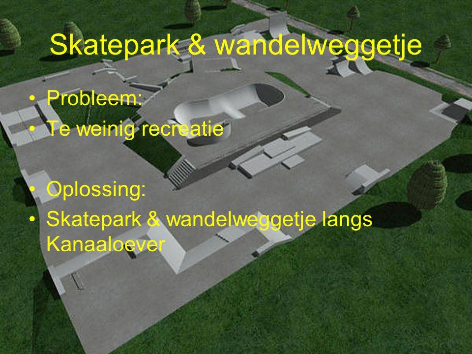 Skatepark & wandelweggetje Probleem: Te weinig recreatie Oplossing: Skatepark & wandelweggetje langs Kanaaloever