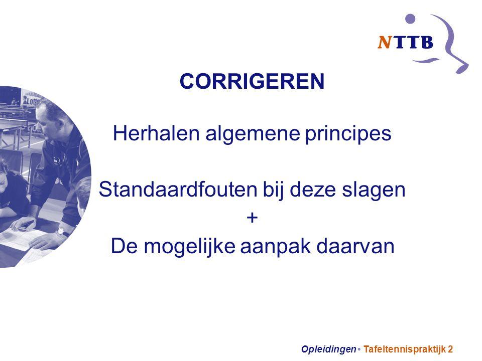 Opleidingen Tafeltennispraktijk 2 CORRIGEREN Herhalen algemene principes Standaardfouten bij deze slagen + De mogelijke aanpak daarvan