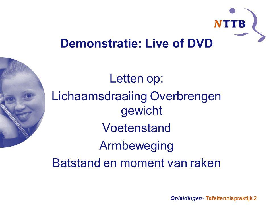 Opleidingen Tafeltennispraktijk 2 Demonstratie: Live of DVD Letten op: Lichaamsdraaiing Overbrengen gewicht Voetenstand Armbeweging Batstand en moment van raken