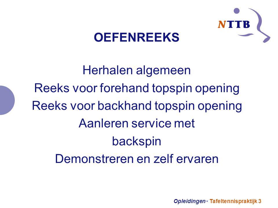 Opleidingen Tafeltennispraktijk 3 OEFENREEKS Herhalen algemeen Reeks voor forehand topspin opening Reeks voor backhand topspin opening Aanleren servic