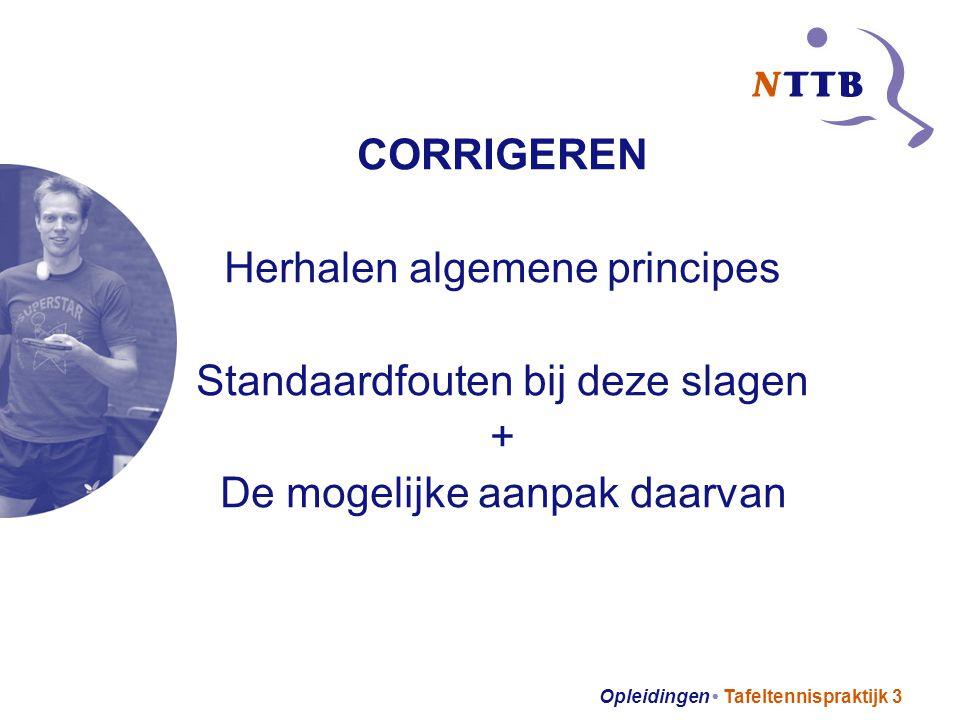 Opleidingen Tafeltennispraktijk 3 CORRIGEREN Herhalen algemene principes Standaardfouten bij deze slagen + De mogelijke aanpak daarvan