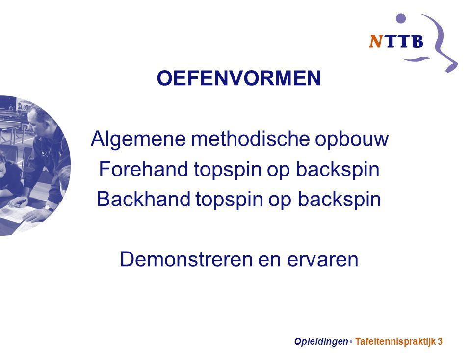 Opleidingen Tafeltennispraktijk 3 OEFENVORMEN Algemene methodische opbouw Forehand topspin op backspin Backhand topspin op backspin Demonstreren en ervaren