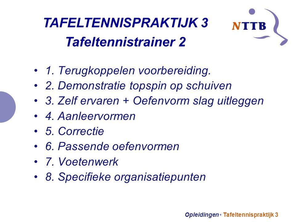 Opleidingen Tafeltennispraktijk 3 1. Terugkoppelen voorbereiding. 2. Demonstratie topspin op schuiven 3. Zelf ervaren + Oefenvorm slag uitleggen 4. Aa