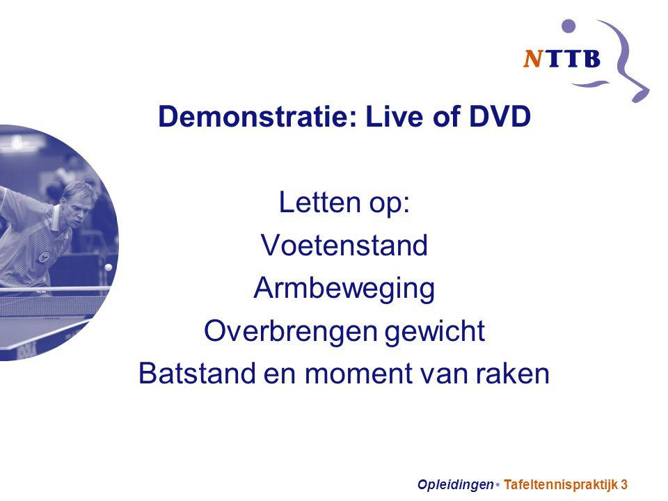 Opleidingen Tafeltennispraktijk 3 Demonstratie: Live of DVD Letten op: Voetenstand Armbeweging Overbrengen gewicht Batstand en moment van raken