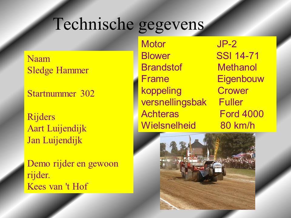 Technische gegevens Naam Sledge Hammer Startnummer 302 Rijders Aart Luijendijk Jan Luijendijk Demo rijder en gewoon rijder. Kees van 't Hof Motor JP-2