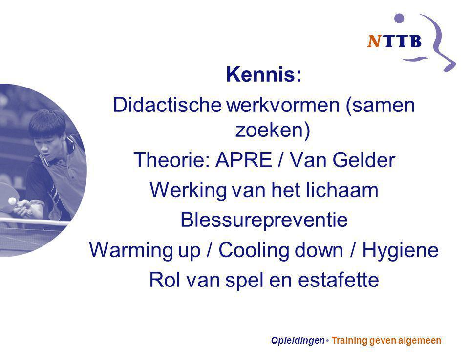 Opleidingen Training geven algemeen Kennis: Didactische werkvormen (samen zoeken) Theorie: APRE / Van Gelder Werking van het lichaam Blessurepreventie