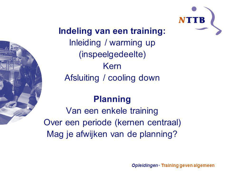 Opleidingen Training geven algemeen Indeling van een training: Inleiding / warming up (inspeelgedeelte) Kern Afsluiting / cooling down Planning Van ee
