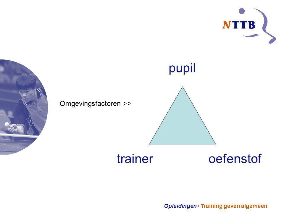 Opleidingen Training geven algemeen pupil trainer oefenstof Omgevingsfactoren >>