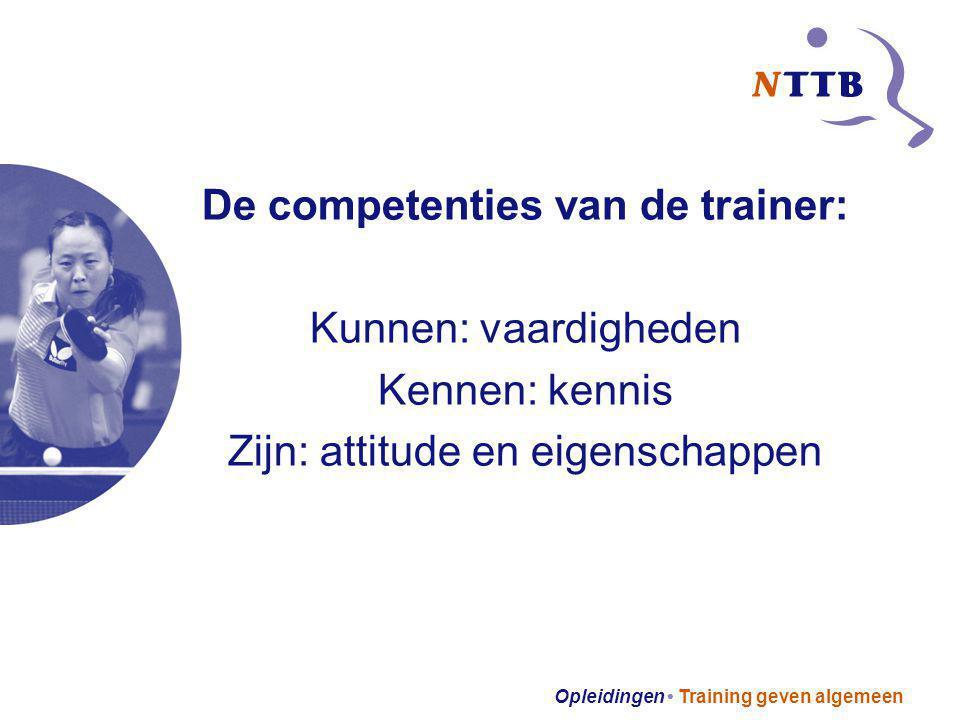 Opleidingen Training geven algemeen De competenties van de trainer: Kunnen: vaardigheden Kennen: kennis Zijn: attitude en eigenschappen