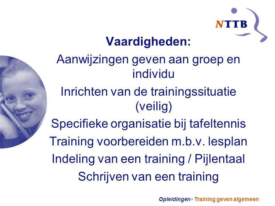 Opleidingen Training geven algemeen Vaardigheden: Aanwijzingen geven aan groep en individu Inrichten van de trainingssituatie (veilig) Specifieke orga