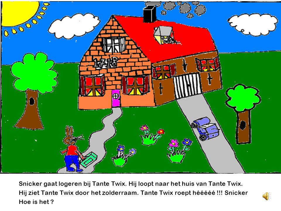 Snicker gaat logeren bij Tante Twix.Hij loopt naar het huis van Tante Twix.