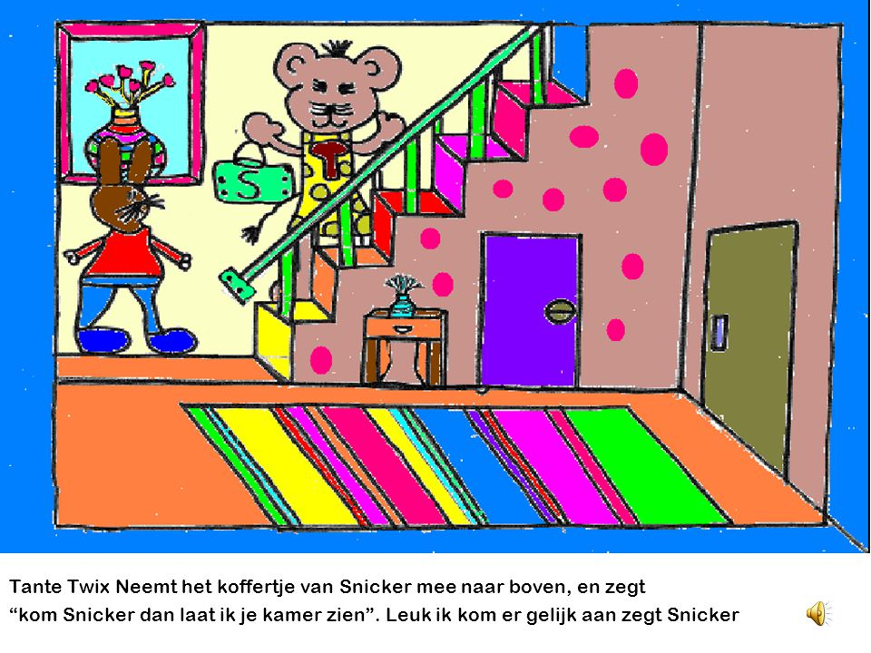Snicker gaat logeren bij Tante Twix. Hij loopt naar het huis van Tante Twix. Hij ziet Tante Twix door het zolderraam. Tante Twix roept hééééé !!! Snic