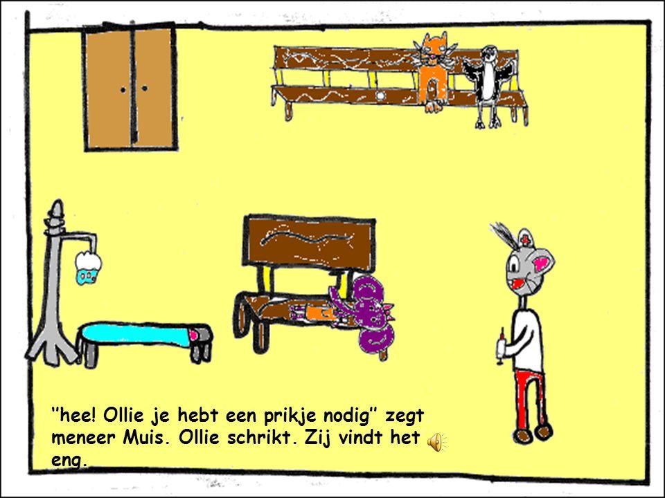 Ollie denkt; laat ik maar naar menneer Muis gaan. Ik voel me namelijk niet zo lekker.