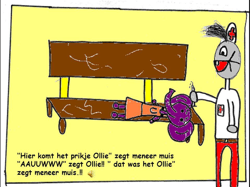 ''hee! Ollie je hebt een prikje nodig'' zegt meneer Muis. Ollie schrikt. Zij vindt het eng.