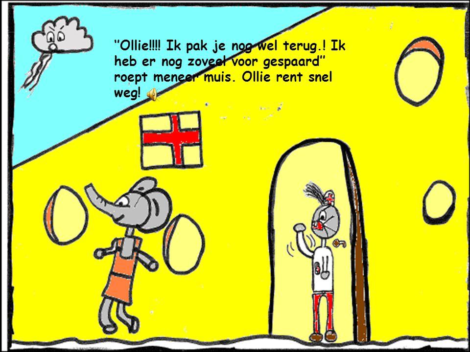 Ollie gaat zitten, ONEEEE!! De bank krakt door! Meneer muis is boos! Echt heel boos!!