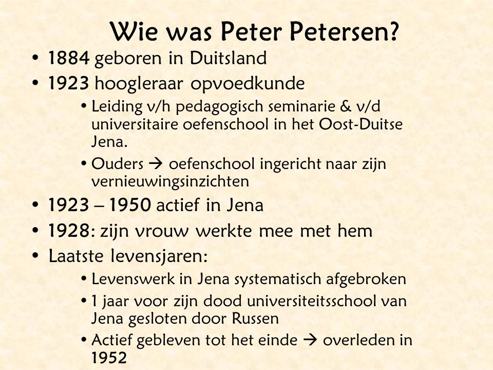 Wie was Peter Petersen.