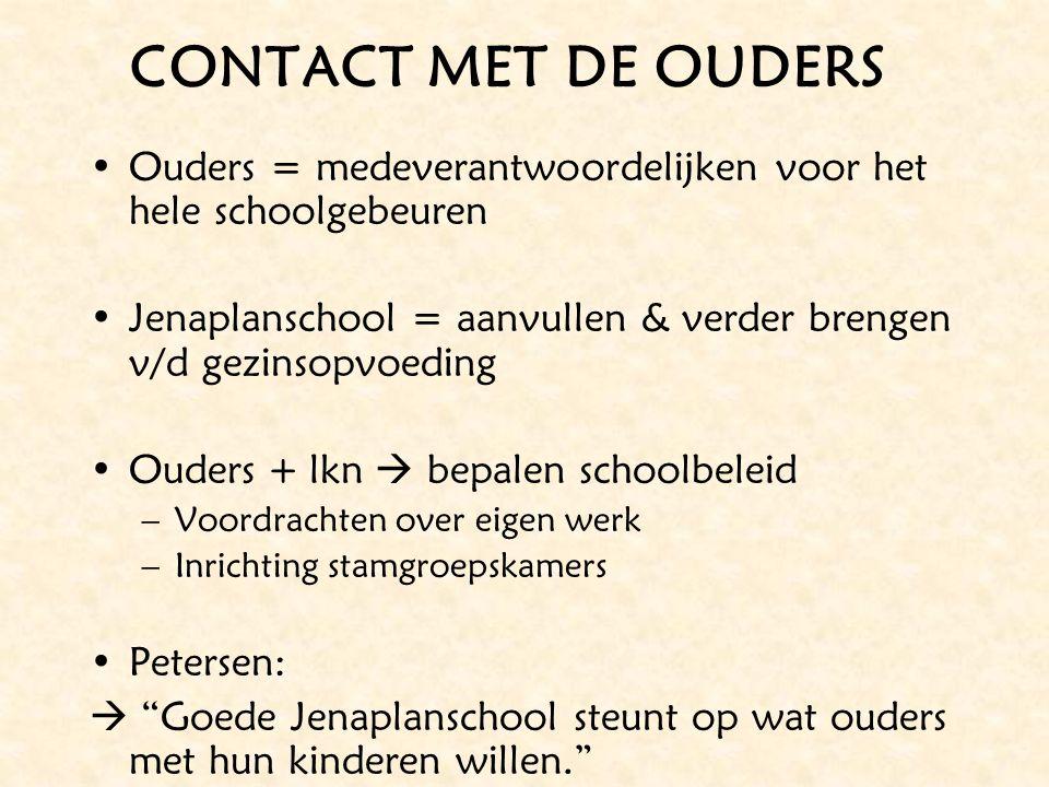 CONTACT MET DE OUDERS Ouders = medeverantwoordelijken voor het hele schoolgebeuren Jenaplanschool = aanvullen & verder brengen v/d gezinsopvoeding Oud