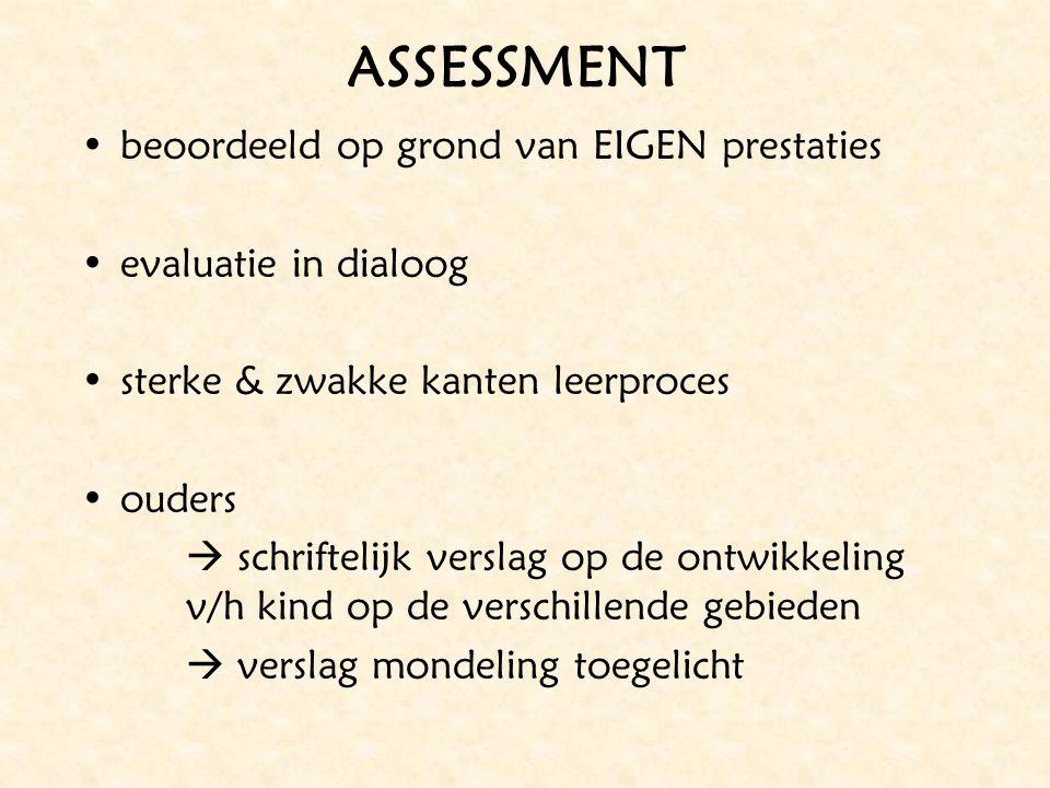 ASSESSMENT beoordeeld op grond van EIGEN prestaties evaluatie in dialoog sterke & zwakke kanten leerproces ouders  schriftelijk verslag op de ontwikk