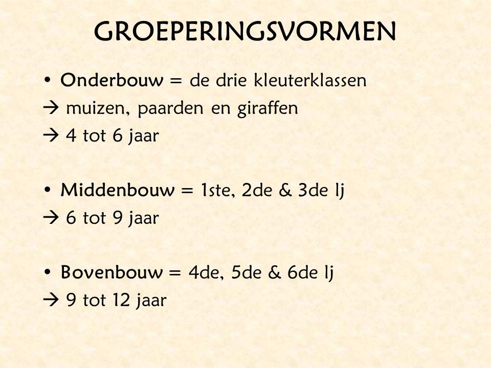 GROEPERINGSVORMEN Onderbouw = de drie kleuterklassen  muizen, paarden en giraffen  4 tot 6 jaar Middenbouw = 1ste, 2de & 3de lj  6 tot 9 jaar Boven