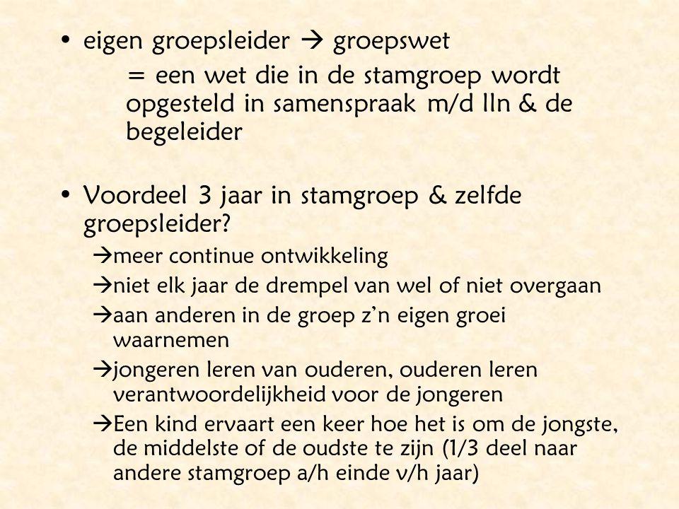 eigen groepsleider  groepswet = een wet die in de stamgroep wordt opgesteld in samenspraak m/d lln & de begeleider Voordeel 3 jaar in stamgroep & zel