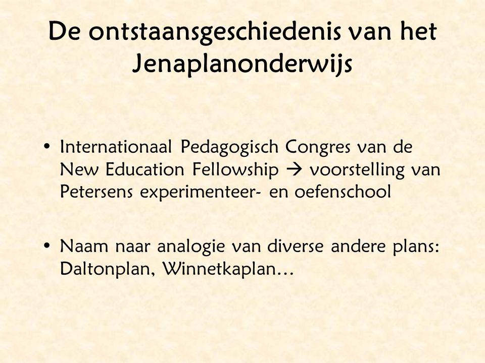 De ontstaansgeschiedenis van het Jenaplanonderwijs Internationaal Pedagogisch Congres van de New Education Fellowship  voorstelling van Petersens exp
