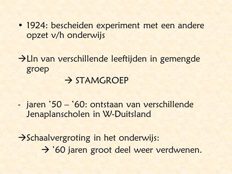 1924: bescheiden experiment met een andere opzet v/h onderwijs  Lln van verschillende leeftijden in gemengde groep  STAMGROEP -jaren '50 – '60: onts
