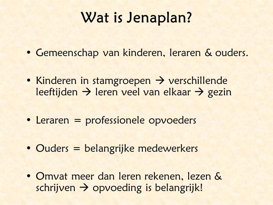 Wat is Jenaplan? Gemeenschap van kinderen, leraren & ouders. Kinderen in stamgroepen  verschillende leeftijden  leren veel van elkaar  gezin Lerare