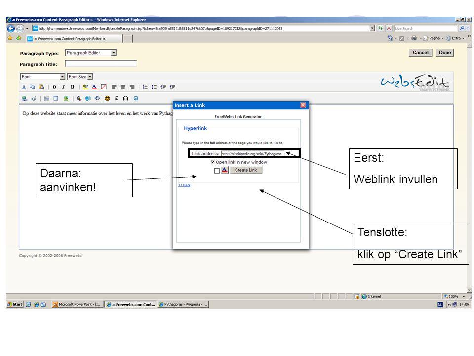 """Eerst: Weblink invullen Daarna: aanvinken! Tenslotte: klik op """"Create Link"""""""