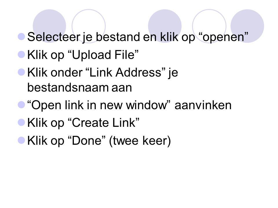 """Selecteer je bestand en klik op """"openen"""" Klik op """"Upload File"""" Klik onder """"Link Address"""" je bestandsnaam aan """"Open link in new window"""" aanvinken Klik"""