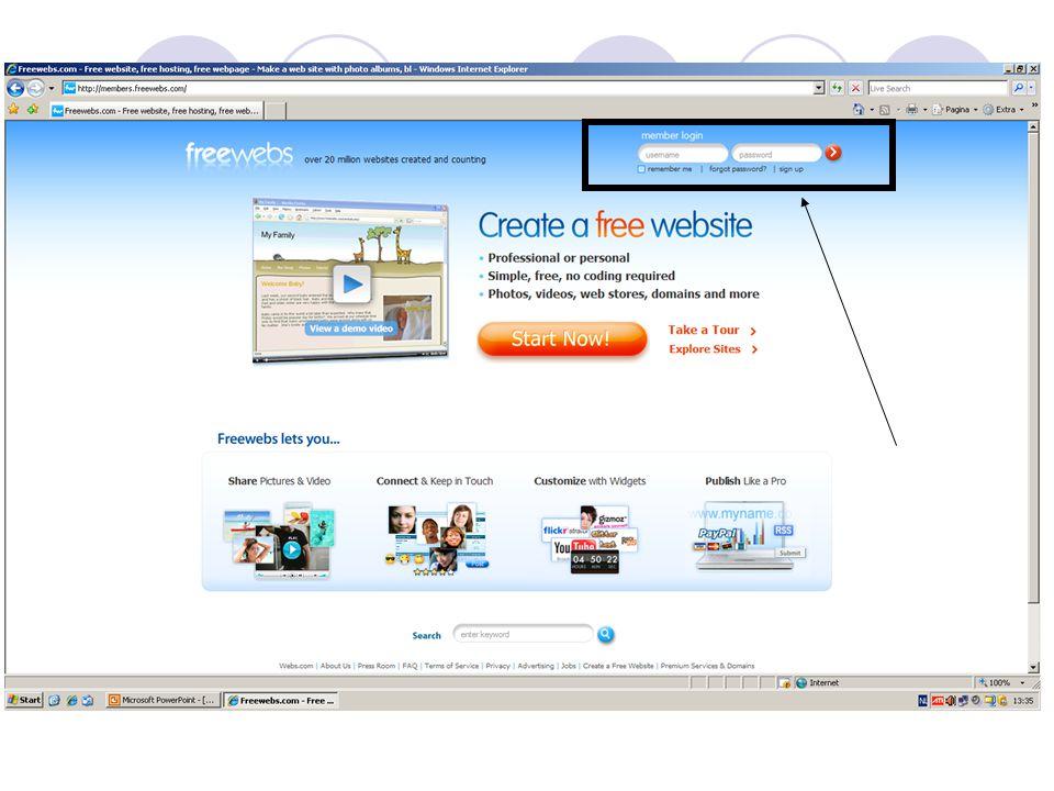 Een weblink maken… Ga terug naar je eerste internet explorer (aanmelden bij freewebs + edit my site ) Klik op je nieuwe pagina (vb: Derde jaar 5u wiskunde ) en vervolgens op edit Selecteer een stukje tekst (vb: Pythagoras ) Klik op Hyperlink Klik op Link to Another Website Weblink invullen en klik op Create Link Klik op Done (tweemaal).