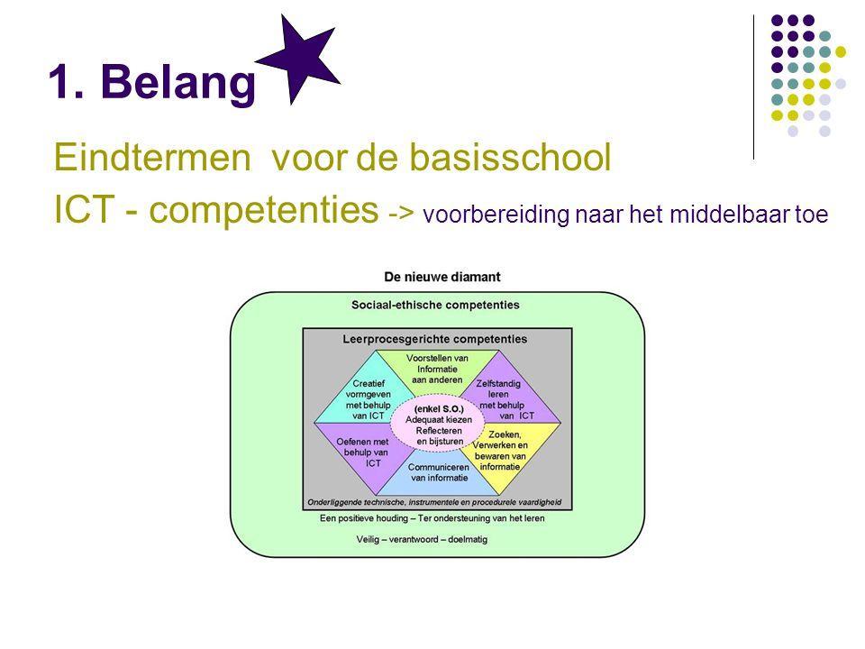 Eindtermen voor de basisschool ICT - competenties -> voorbereiding naar het middelbaar toe 1.
