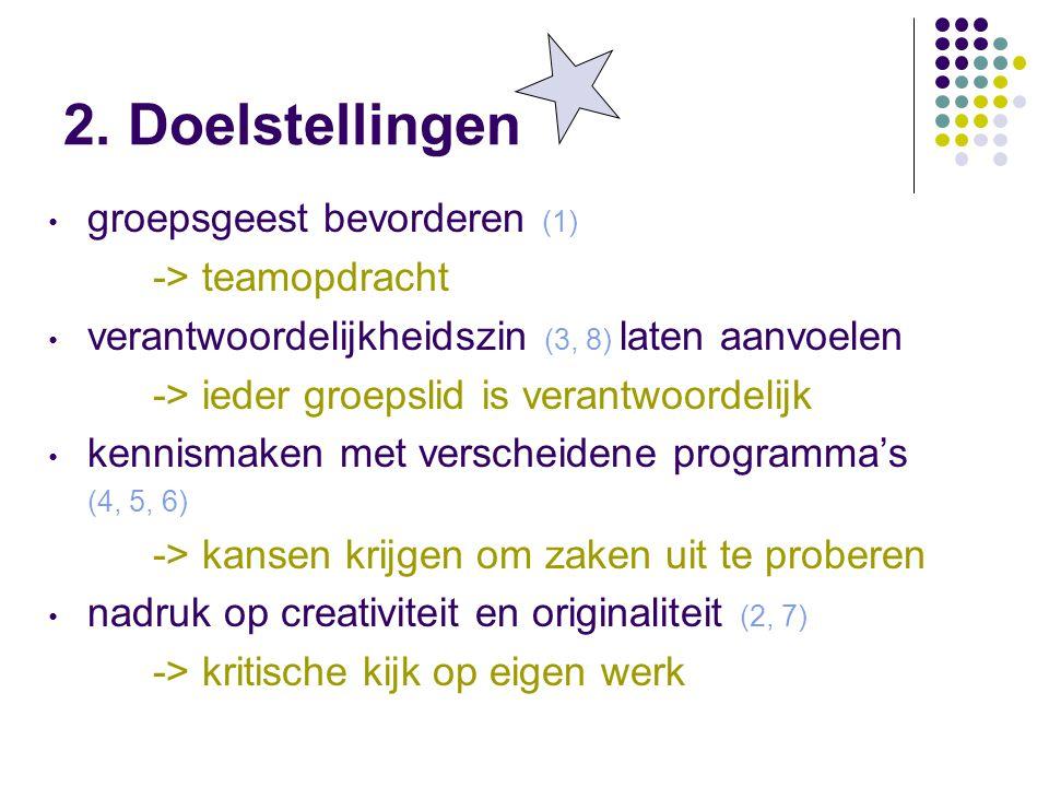 2. Doelstellingen groepsgeest bevorderen (1) -> teamopdracht verantwoordelijkheidszin (3, 8) laten aanvoelen -> ieder groepslid is verantwoordelijk ke
