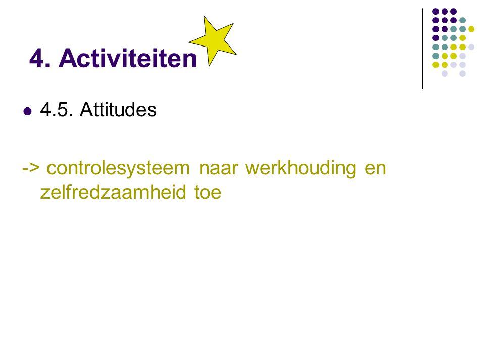 4. Activiteiten 4.5. Attitudes -> controlesysteem naar werkhouding en zelfredzaamheid toe