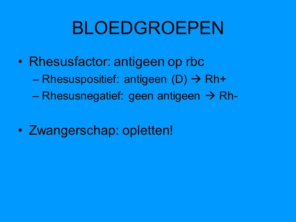Rhesusfactor: antigeen op rbc –Rhesuspositief: antigeen (D)  Rh+ –Rhesusnegatief: geen antigeen  Rh- Zwangerschap: opletten!
