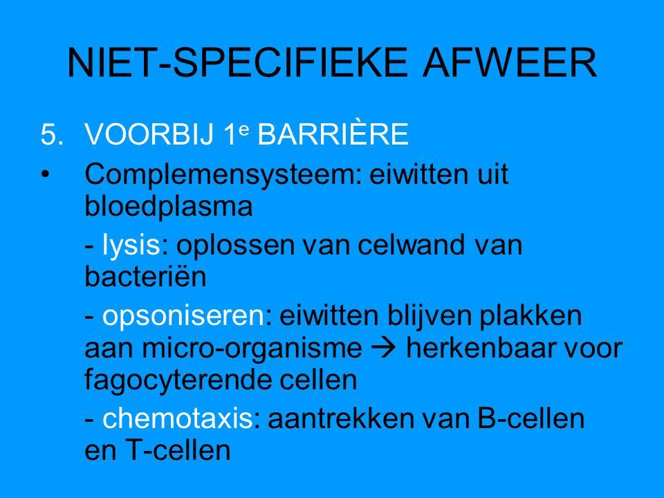 NIET-SPECIFIEKE AFWEER 5.VOORBIJ 1 e BARRIÈRE Complemensysteem: eiwitten uit bloedplasma - lysis: oplossen van celwand van bacteriën - opsoniseren: ei