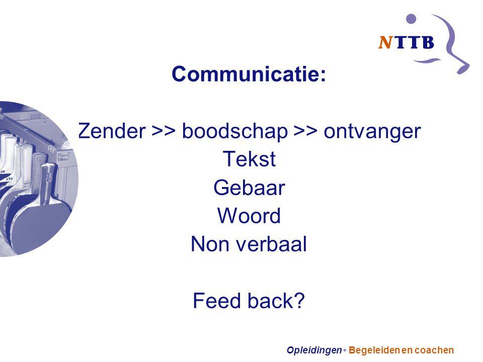 Opleidingen Begeleiden en coachen Communicatie: Zender >> boodschap >> ontvanger Tekst Gebaar Woord Non verbaal Feed back
