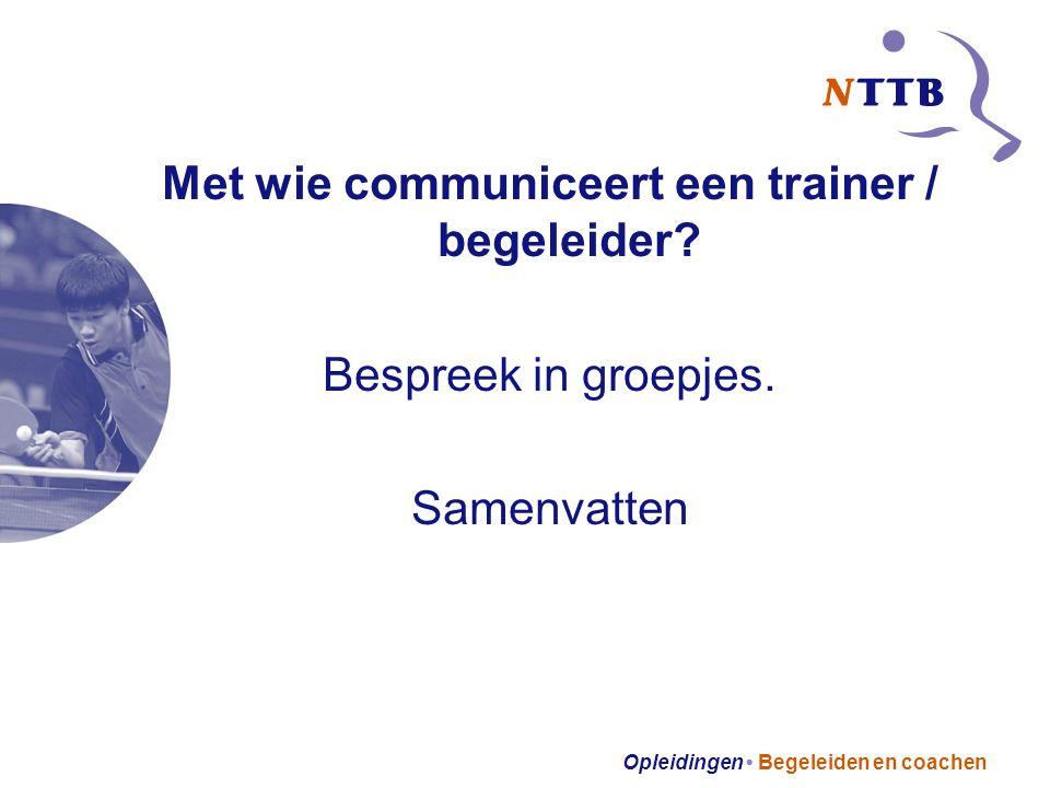 Opleidingen Begeleiden en coachen Met wie communiceert een trainer / begeleider.