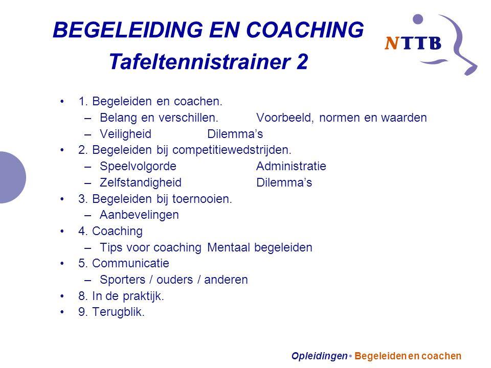 Opleidingen Begeleiden en coachen 1. Begeleiden en coachen.