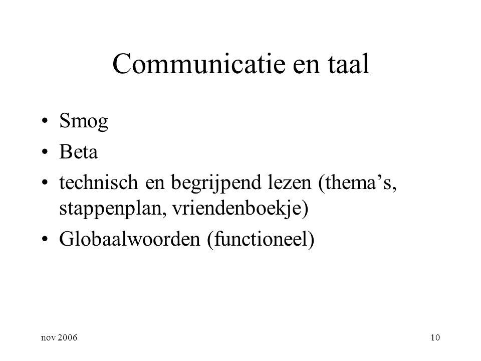 nov 200610 Communicatie en taal Smog Beta technisch en begrijpend lezen (thema's, stappenplan, vriendenboekje) Globaalwoorden (functioneel)