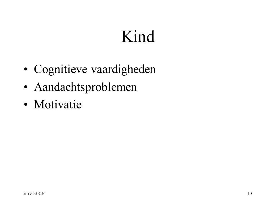 nov 200613 Kind Cognitieve vaardigheden Aandachtsproblemen Motivatie