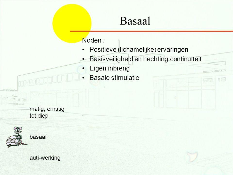 nov 200625 Basaal Noden : Positieve (lichamelijke) ervaringen Basisveiligheid en hechting:continuïteit Eigen inbreng Basale stimulatie matig, ernstig tot diep basaal auti-werking