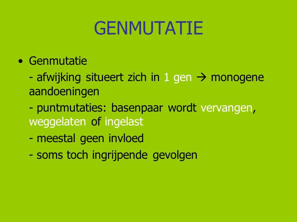 GENMUTATIE Genmutatie - afwijking situeert zich in 1 gen  monogene aandoeningen - puntmutaties: basenpaar wordt vervangen, weggelaten of ingelast - m